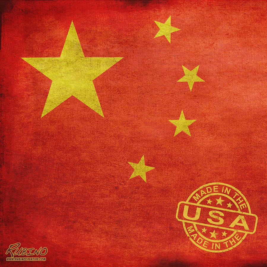 China Flag Painting - China Flag Made In The Usa by Tony Rubino