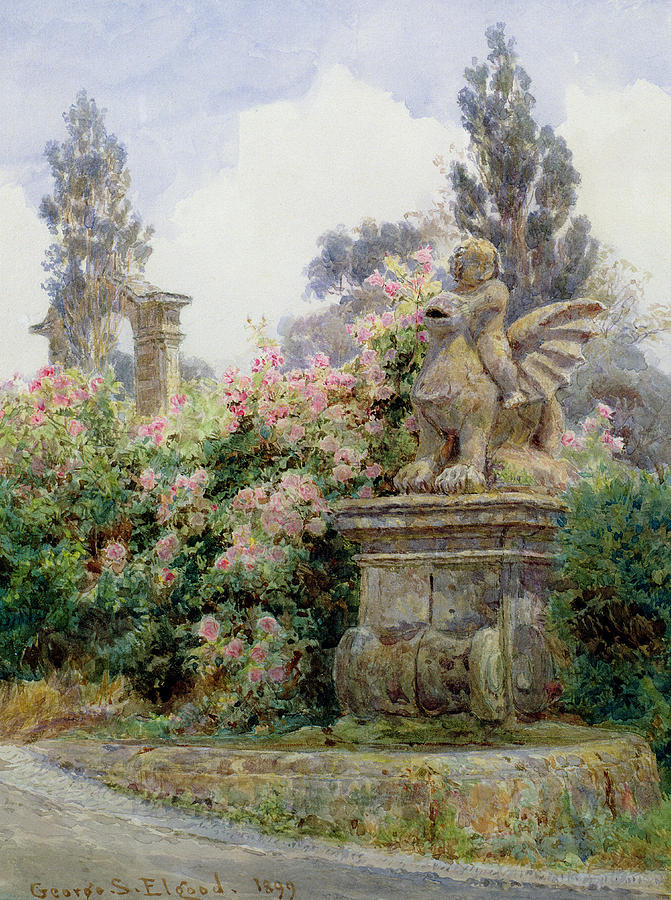 Rose Painting - China Roses Villa Imperiali Genoa by George Samuel Elgood