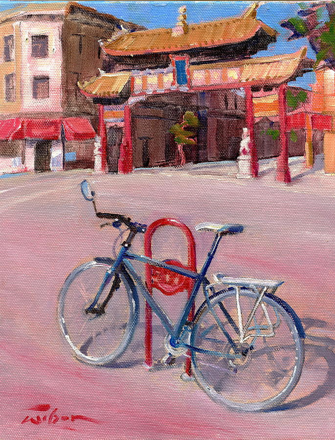 Chinatown Painting - Chinatown Bicycle by Ron Wilson