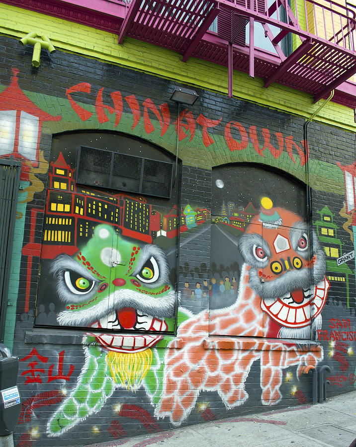 Chinatown Photograph - Chinatown Foo Dog Mural by Christopher Winkler