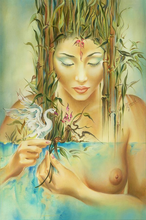 Swan Painting - Chinese Fairytale by Anna Ewa Miarczynska