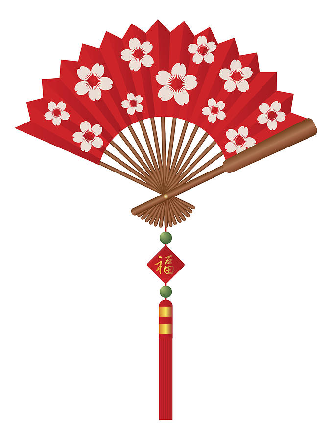 chinese fan with cherry blossom flowers design photograph by jit lim