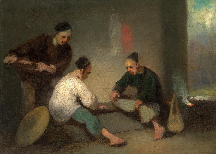 Painter Painting - Chinese Gamblers, George Chinnery, 1774-1852 by Litz Collection
