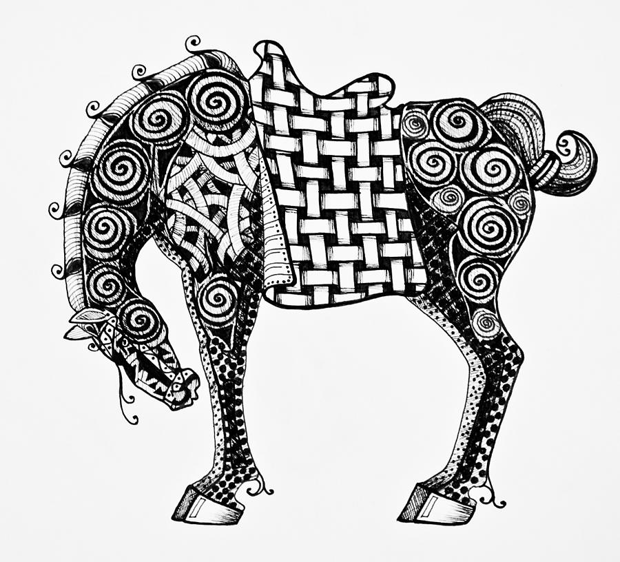 Chinese Drawing - Chinese Horse - Zentangle by Jani Freimann