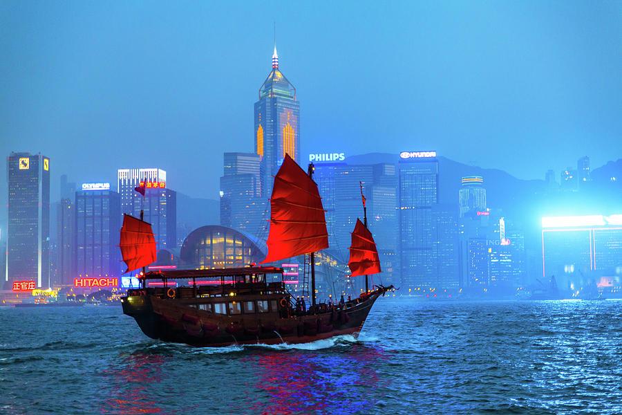 Chinese Junkboat Sailing Across Photograph by Yiu Yu Hoi