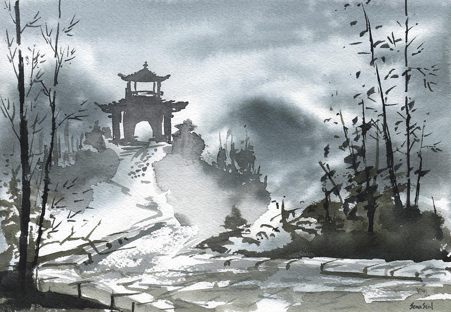 China Painting - Chinese Landscape by Sean Seal