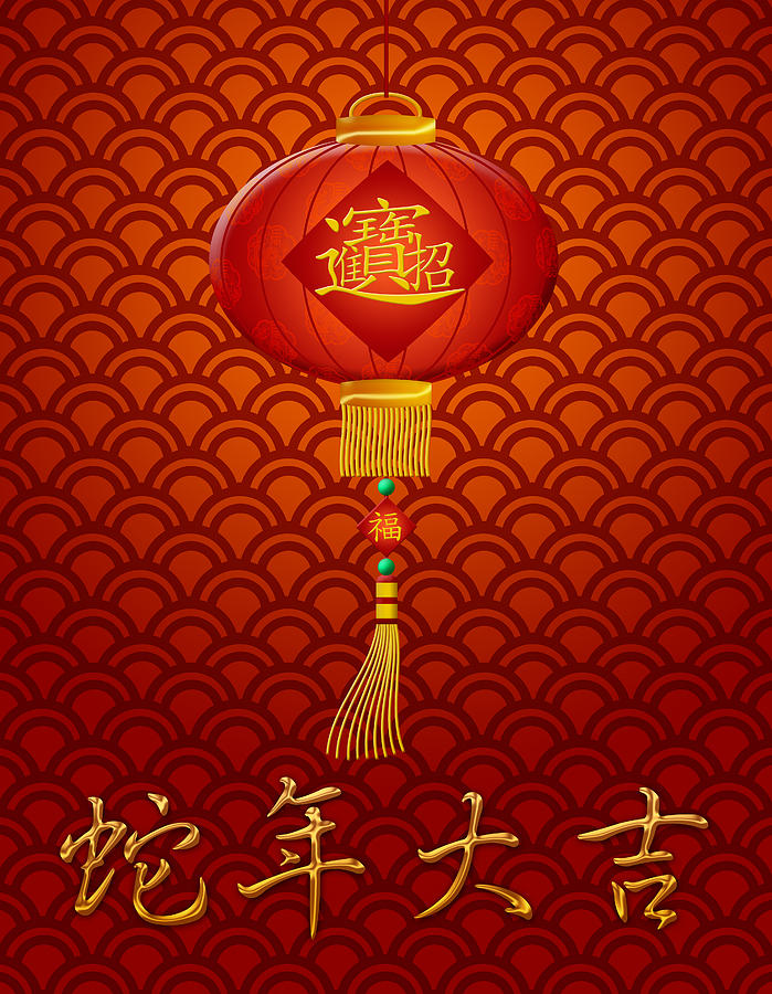 2013 Digital Art - Chinese New Year Snake Lantern On Scales Pattern Background by JPLDesigns