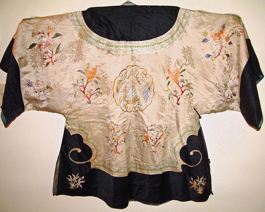 Butterflies Tapestry - Textile - Chinese Silk Robe With Exquisite Hand Embroidery Featuring Bird Flowers Butterflies Dragon by Chinese embroidery master