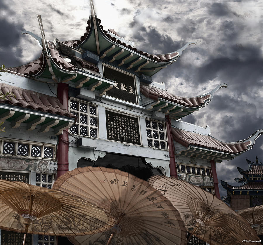 Architecture Photograph - Chinese Temple Gate by Larry Butterworth