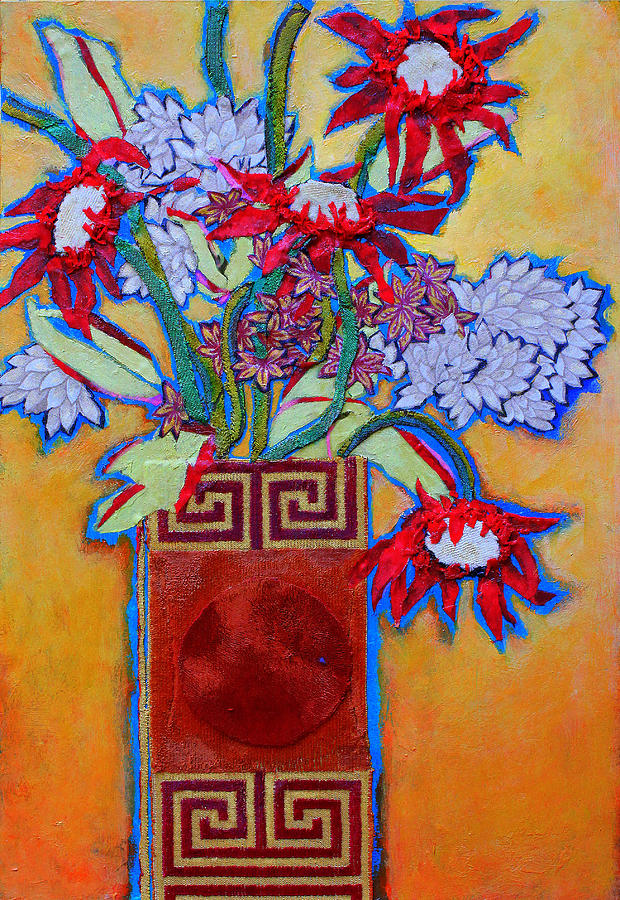 Flowers In A Vase Mixed Media - Chinese Vase by Diane Fine