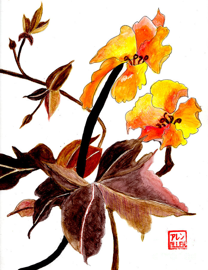 chinese watercolor painting flowers photograph by merton allen