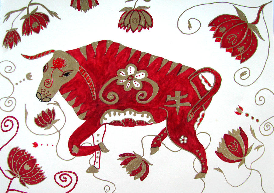 Ox Drawing - Chinese Year Of The Ox by Barbara Giordano