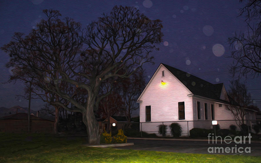 Chino Photograph - Chino Old School House At Night- 01 by Gregory Dyer