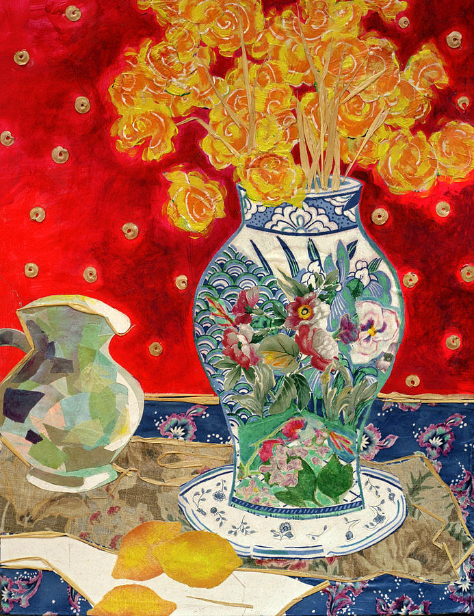 Flowers In A Vase Mixed Media - Chinoiserie by Diane Fine