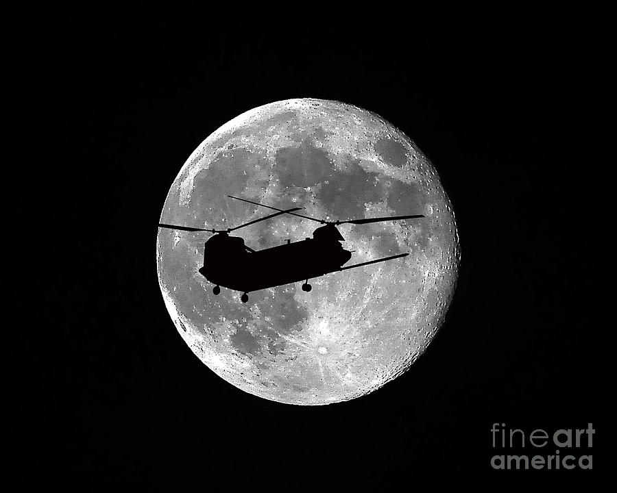 Chinook Photograph - Chinook Moon B And W by Al Powell Photography USA