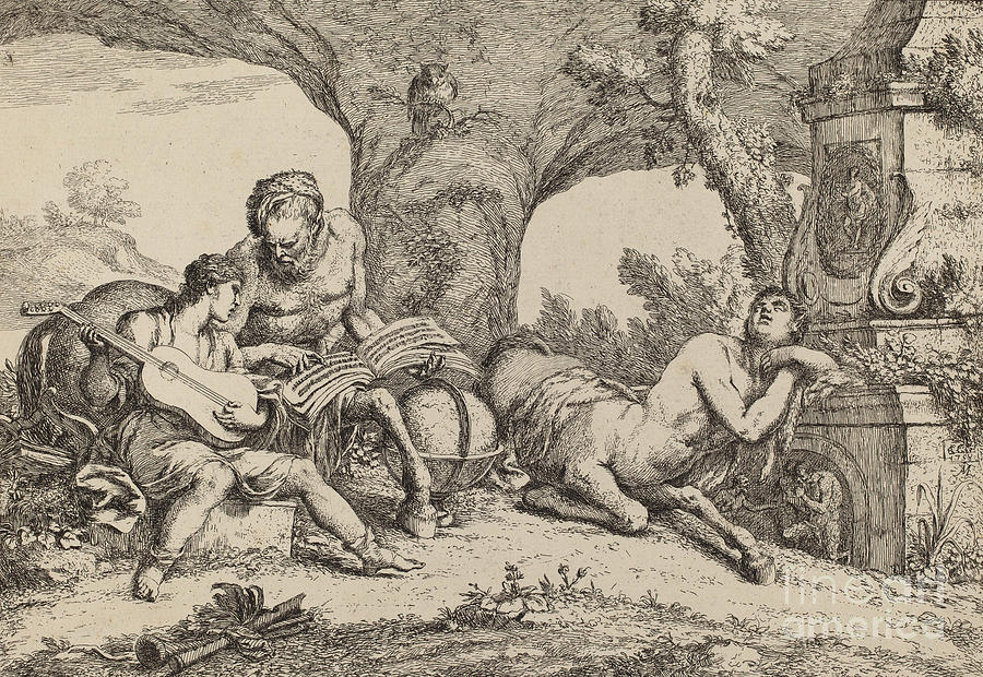 Chiron Teaching Music To Achilles Drawing