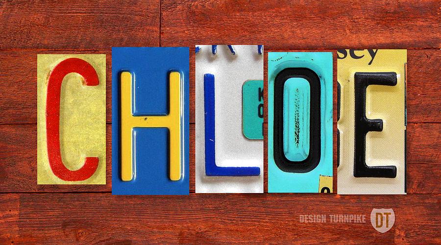 Chloe License Plate Name Sign Fun Kid Room Decor Mixed