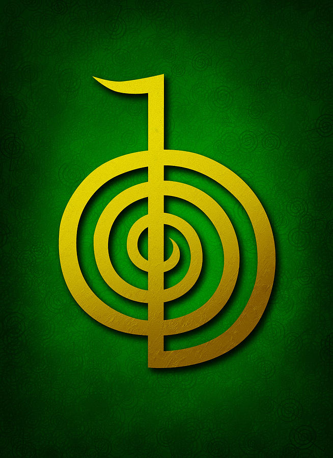 Cho Ku Rei Golden Yellow On Green Reiki Usui Symbol Digital Art By