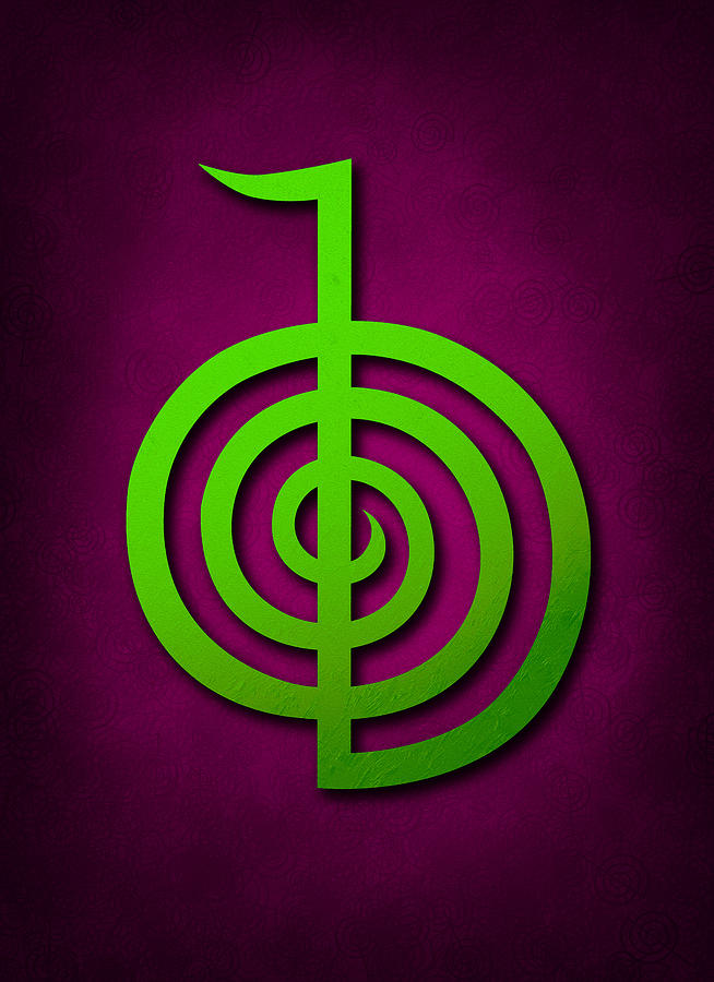 Cho Ku Rei Digital Art - Cho Ku Rei - Lime Green On Purple Reiki Usui Symbol by Cristina-Velina Ion