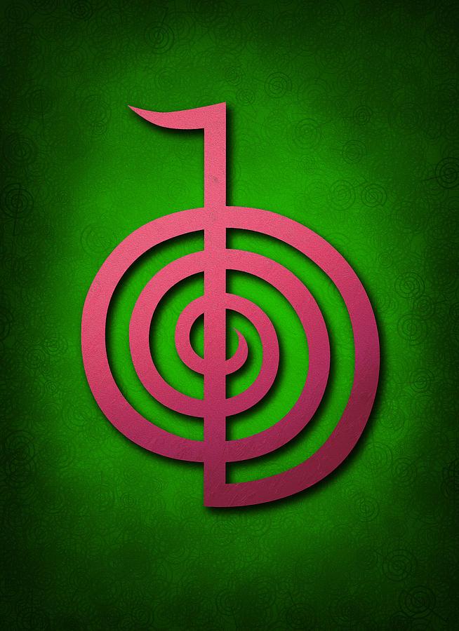 Cho Ku Rei Pink On Green Reiki Usui Symbol Digital Art