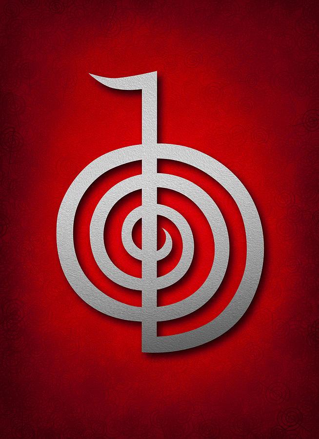 Traditional Digital Art - Cho Ku Rei - Silver On Red Reiki Usui Symbol by Cristina-Velina Ion