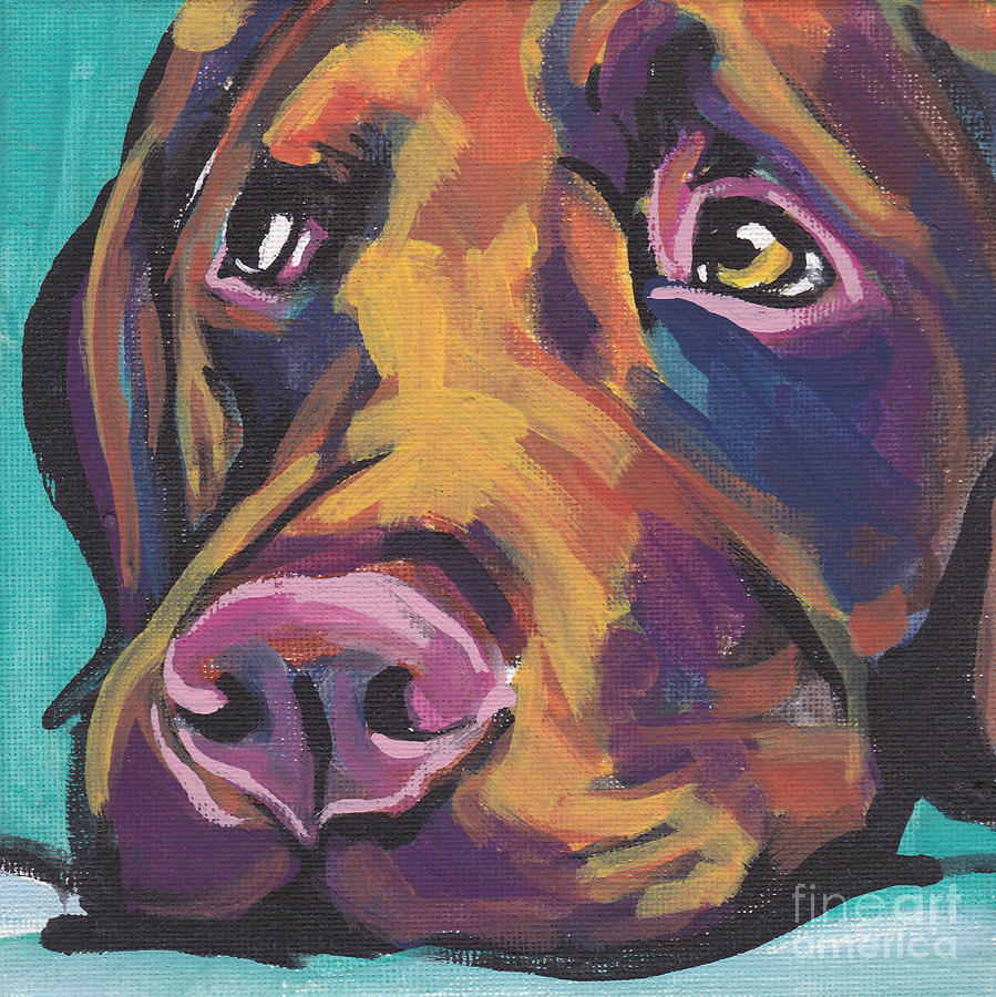 Labrador Retriever Painting - Choco Lab Love by Lea S