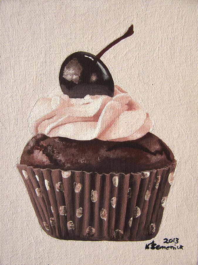 Cupcake Painting - Chocolate Cherry Cupcake by Kayleigh Semeniuk