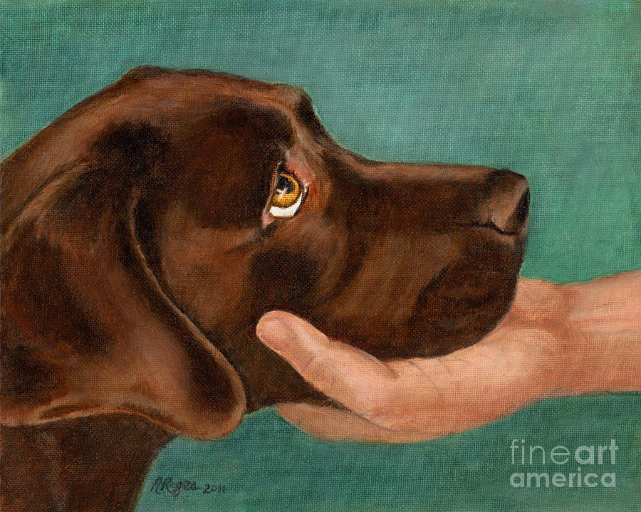 Dog Painting - Chocolate Lab Head In Hand by Amy Reges