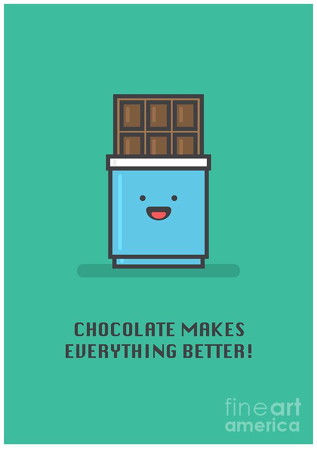 Love Digital Art - Chocolate Makes Everything Better Line by Orange Vectors