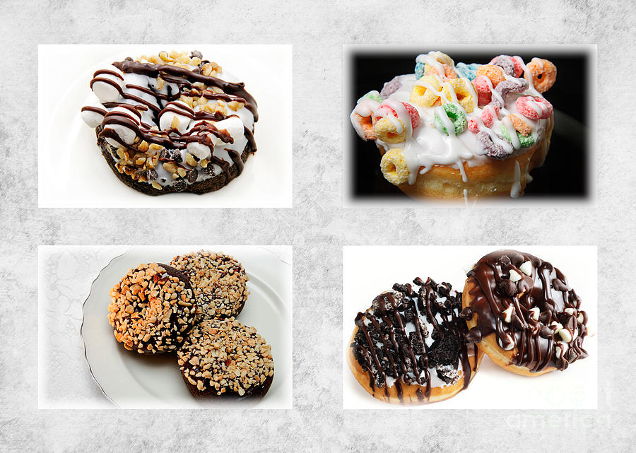 Donut Photograph - Choice Of Donuts 4 X 4 Collage 1 - Bakery - Sweets Shoppe by Andee Design