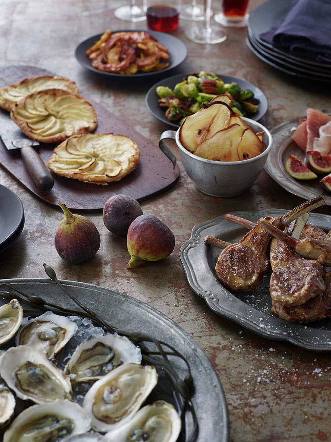 Chops And Oysters Table Photograph by Alexandra Grablewski