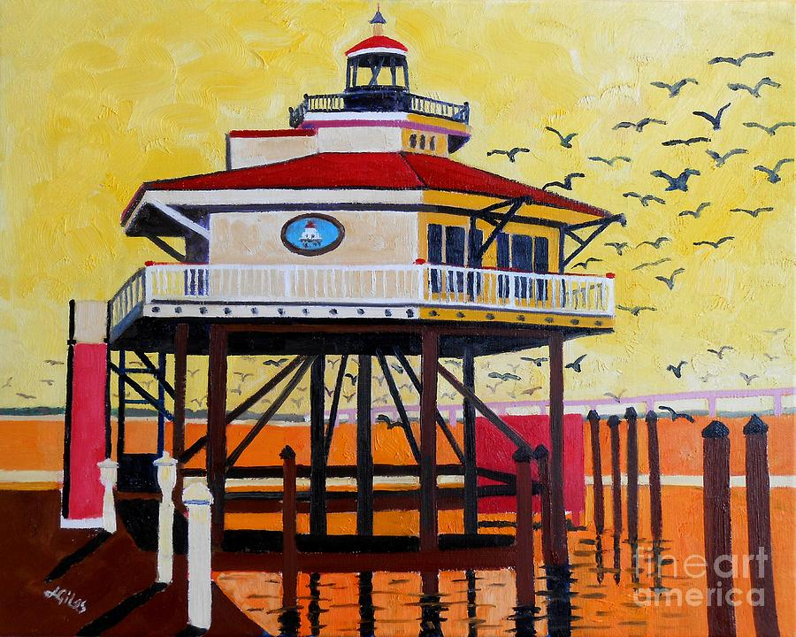 Lighthouse Painting - Choptank River Lighthouse by Lesley Giles