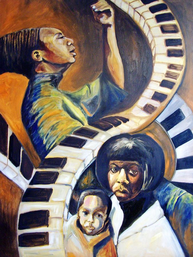 Portrait Painting - Chords portrait of Nina Simone by Joyce McEwen Crawford