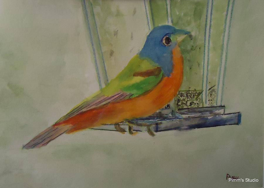 Bird Painting - Chris Birdfeeder by Betty Pimm