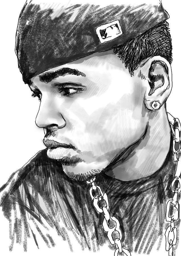 Chris Brown Art Drawing Sketch Portrait Drawing - Chris Brown Art Drawing Sketch Portrait by Kim Wang