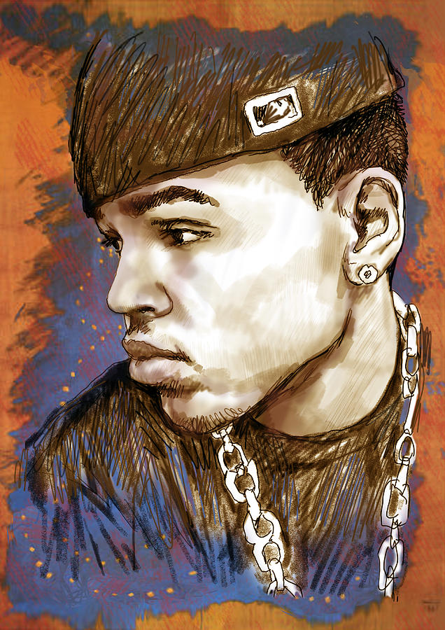 d49eb8707a3d0 Chris Brown - Stylised Drawing Art Poster Drawing by Kim Wang