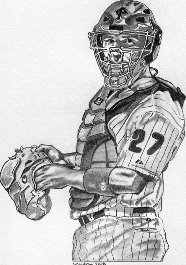 Sports Drawing - Chris Coste by Brian Condron