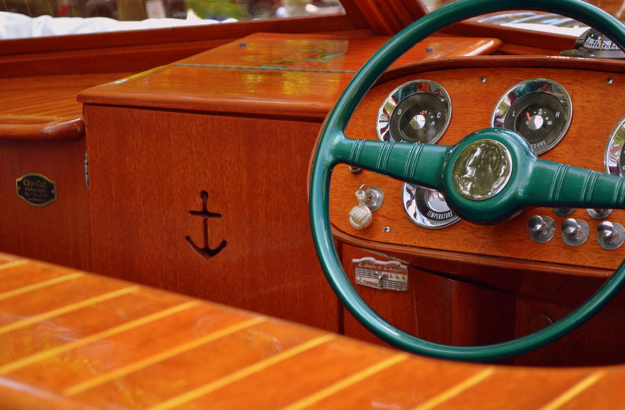 Classic Boat Photograph - Chris Craft Cockpit by Michelle Calkins