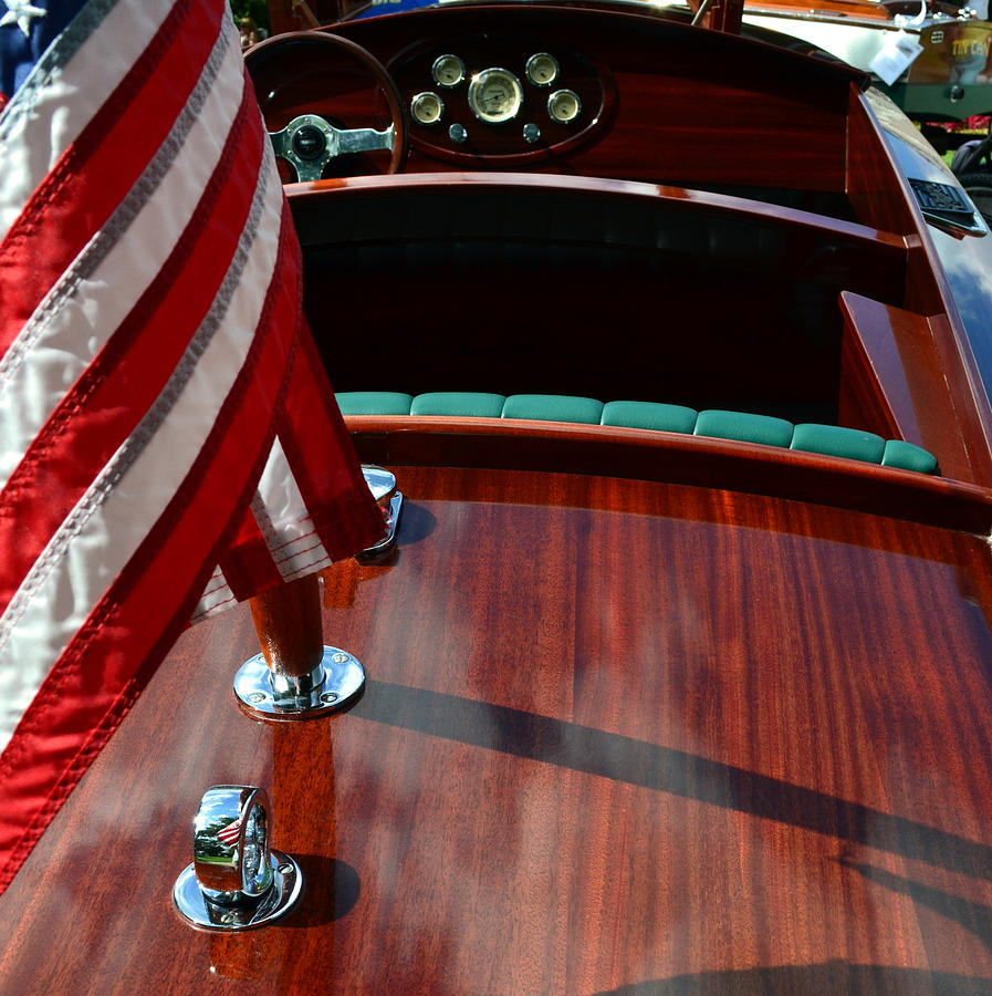 Classic Boat Photograph - Chris Craft With Flag And Steering Wheel by Michelle Calkins