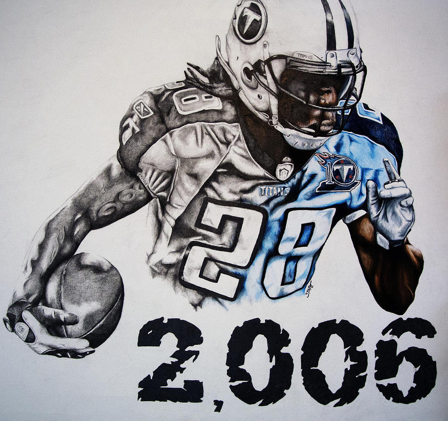 Tennessee Drawing - Chris Johnson by Jake Stapleton