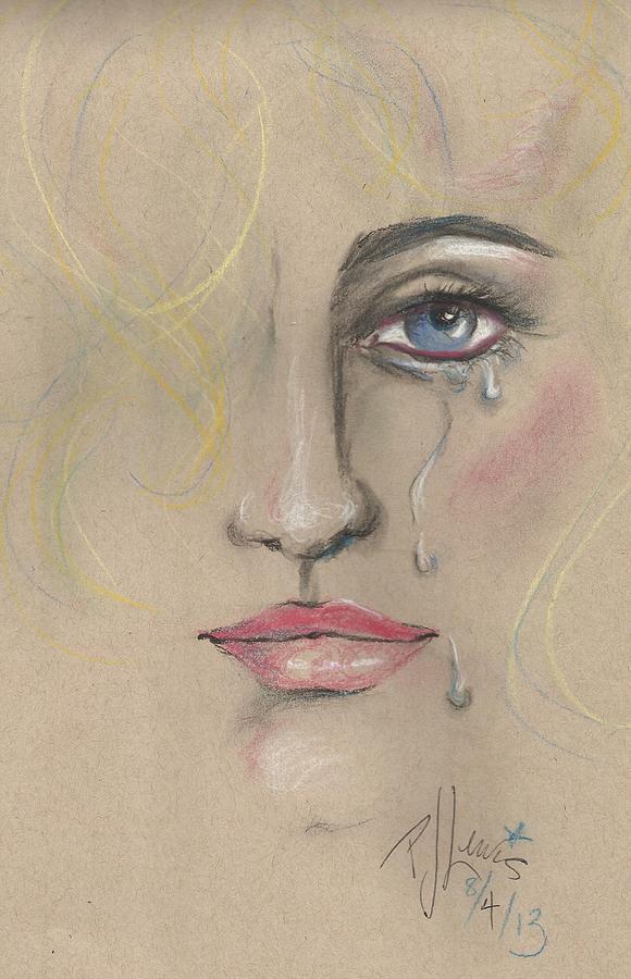 Tears Drawing - Chris by PJ Lewis