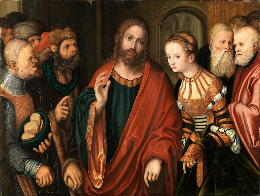 Lucas Cranach The Elder Painting - Christ And The Adulteress by Lucas Cranach the Elder