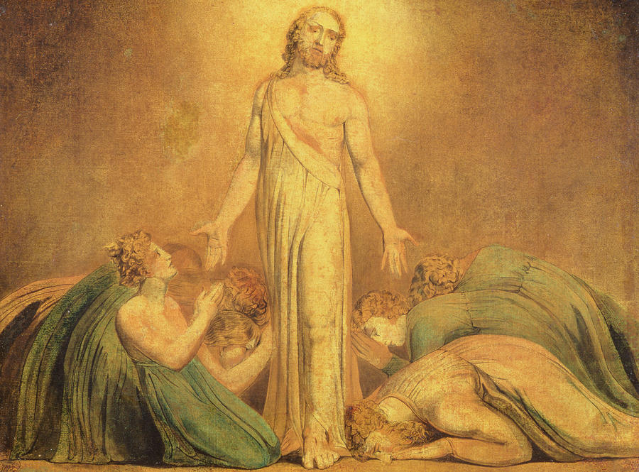Romantic Painting - Christ Appearing To The Apostles After The Resurrection by William Blake