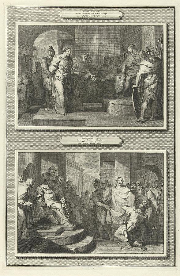 christ before pilate and herod gilliam van der gouwen drawing by