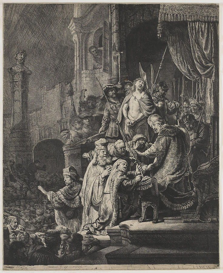Jesus Christ Painting - Christ Before Pilate by Rembrandt