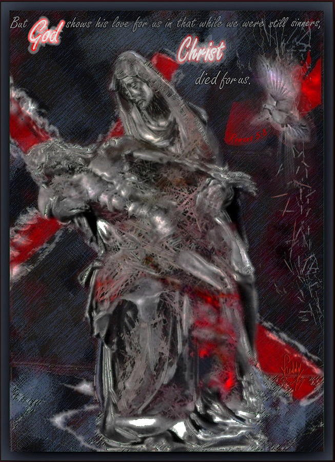 Christ Mixed Media - Christ Died For Us by Freddy Kirsheh