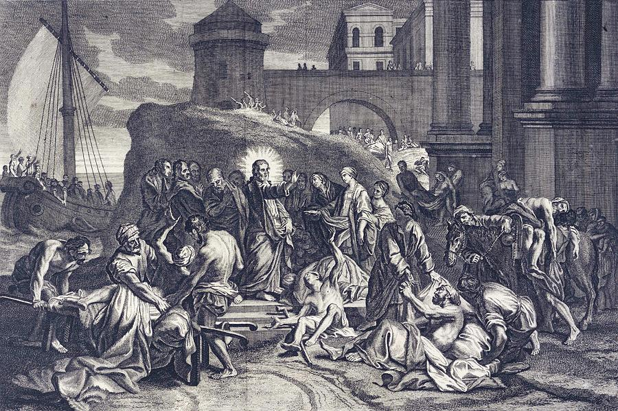 Jesus Drawing - christ Healeth A Multitude by Mary Evans Picture Library