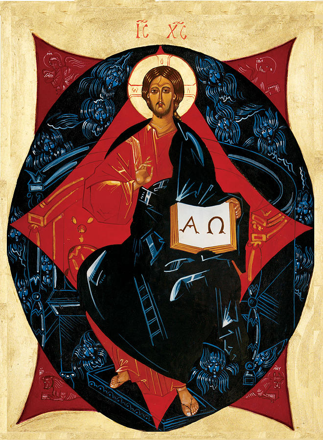Russian Icon Painting - Christ In Majesty by Joseph Malham