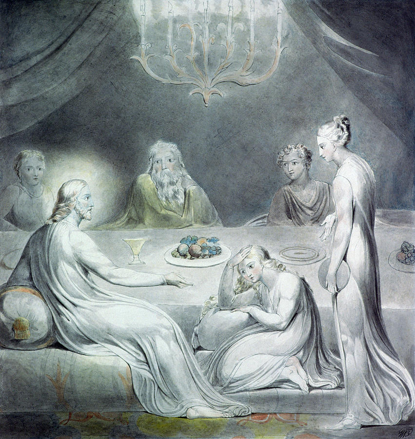 Biblical Painting - Christ In The House Of Martha And Mary Or The Penitent Magdalene by William Blake