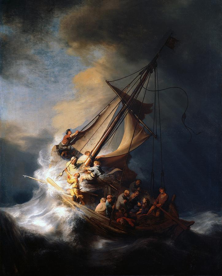 1633 Painting - Christ In The Storm On The Sea Of Galilee by Rembrandt van Rijn